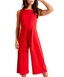 Red belted culotte jumpsuit