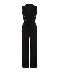 Black military sleeveless jumpsuit