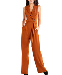 Brown military sleeveless jumpsuit