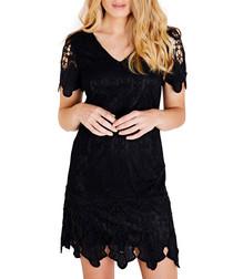 Black V-neck border lace dress