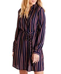 Multi-colour striped shirt dress