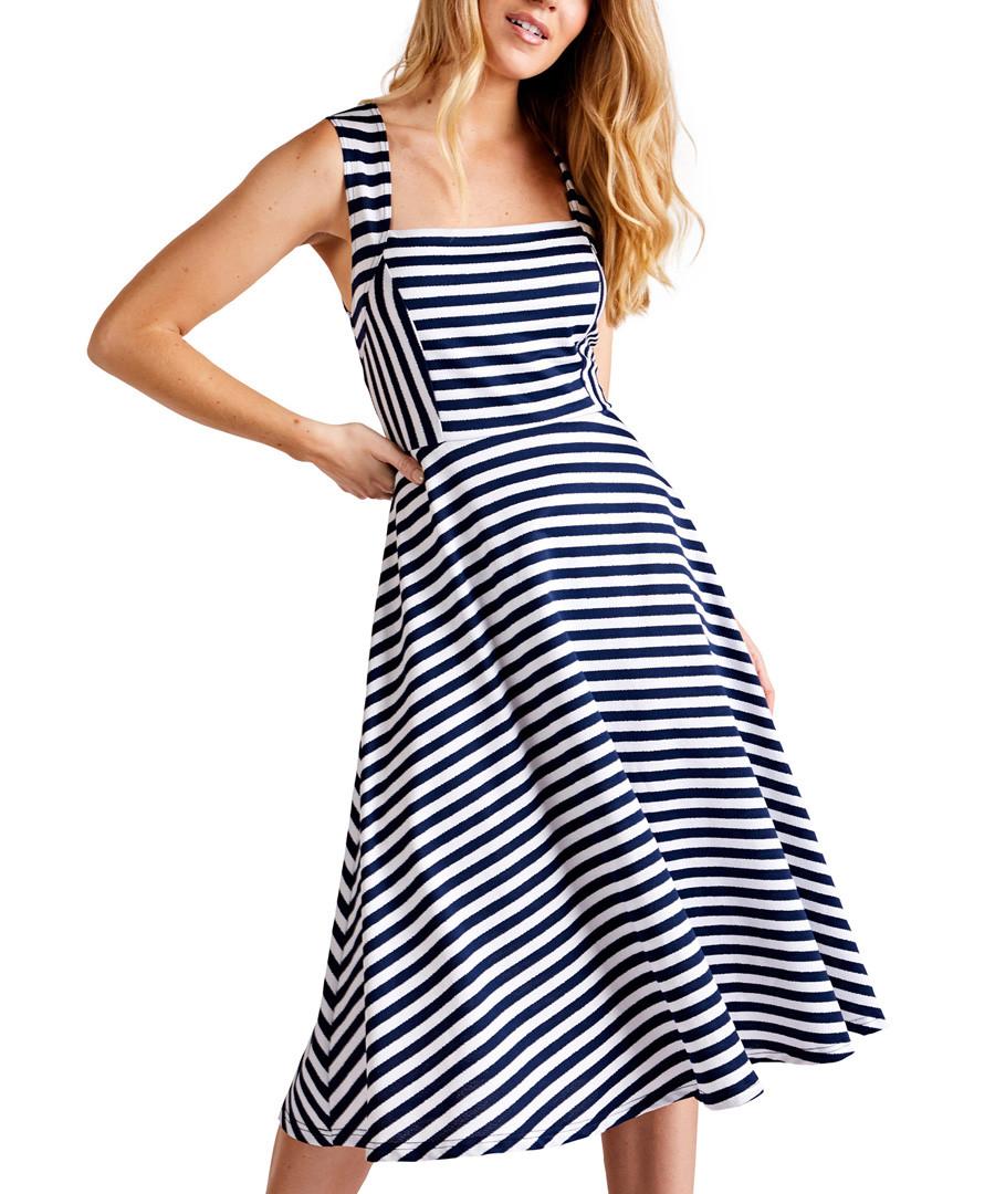 Navy striped midi dress Sale - iska