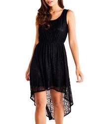 Black high low lace dress