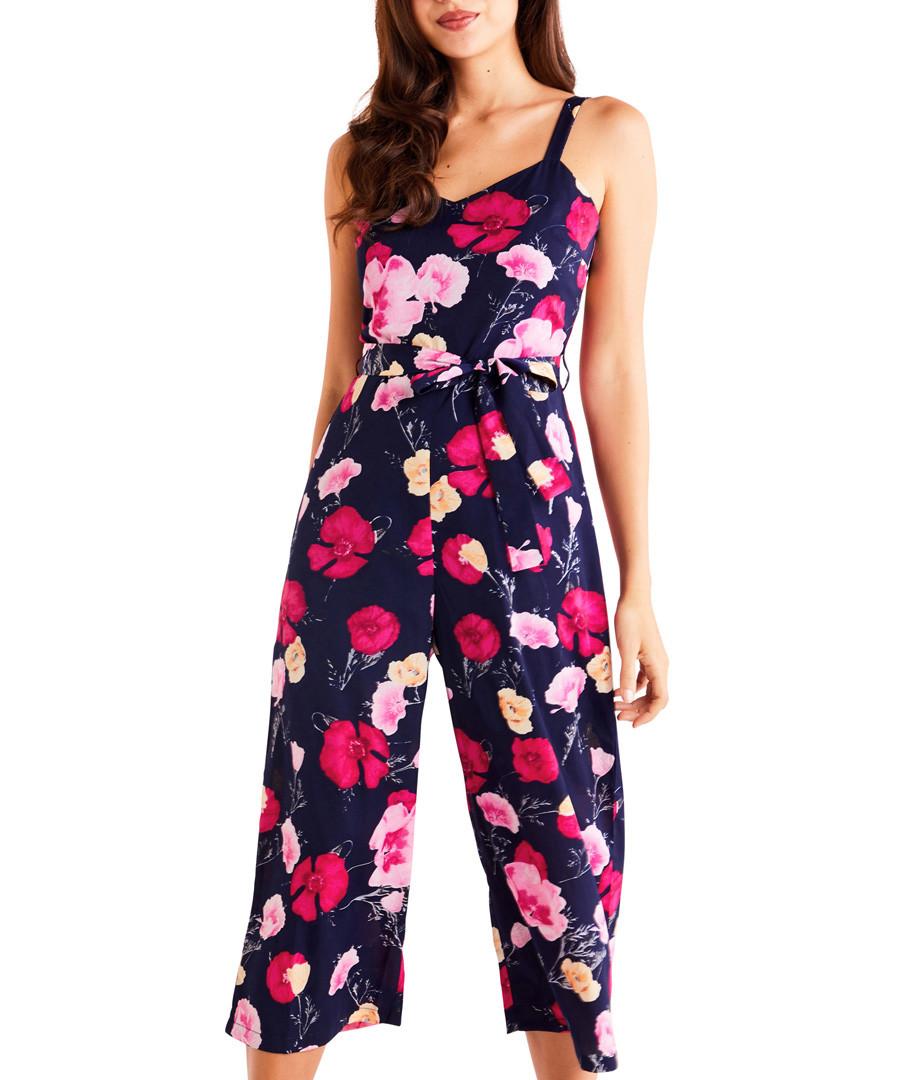 Navy poppy print culotte jumpsuit Sale - iska