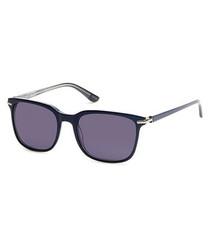 Shiny blue lens sunglasses