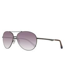Silver-tone & lilac aviator sunglasses