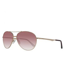 Gold-tone & purple aviator sunglasses