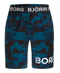 August camo blue print logo shorts