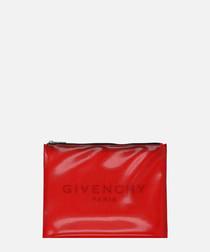 Red patent logo clutch