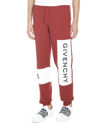 Red pure cotton logo joggers