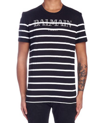 Monochrome pure cotton stripe T-shirt