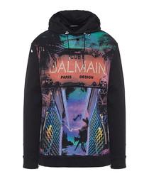 Multi-colour pure cotton graphic hoodie