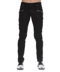 Black cotton zip-detail jeans