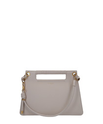 Beige structured leather tote