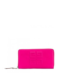 Fuchsia embossed leather wallet
