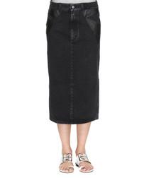 Black cotton denim midi skirt