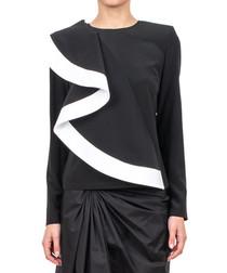 Monochrome pure silk ruffle blouse