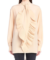 Beige pure silk ruffle crepe blouse