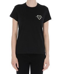 Black pure cotton heart T-shirt