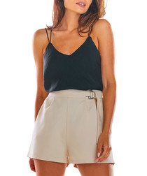 Beige high-rise shorts