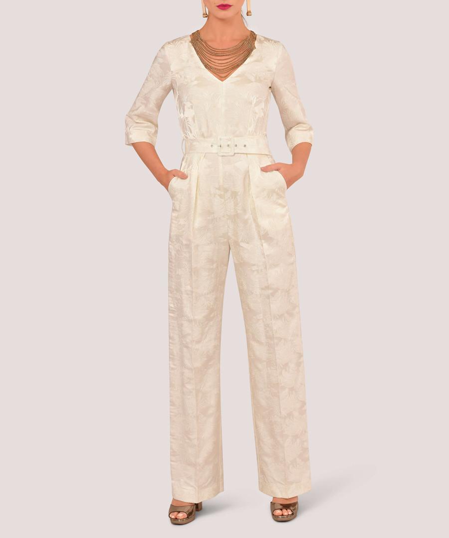 Ivory V-neck jumpsuit Sale - closet london