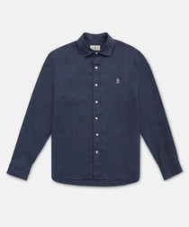 Midnight pure cotton button-up shirt