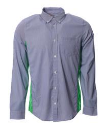 Glan grey white & green button shirt