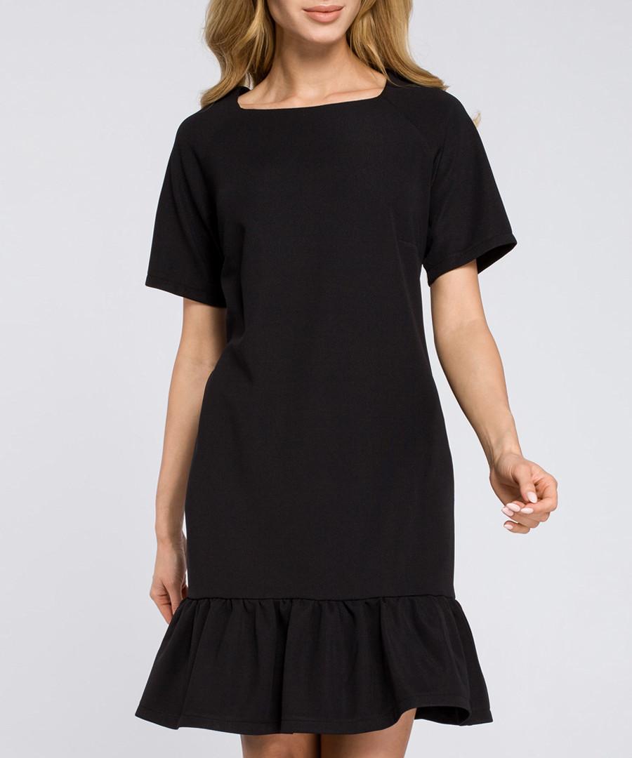 Black short sleeve ruffle hem dress  Sale - made of emotion