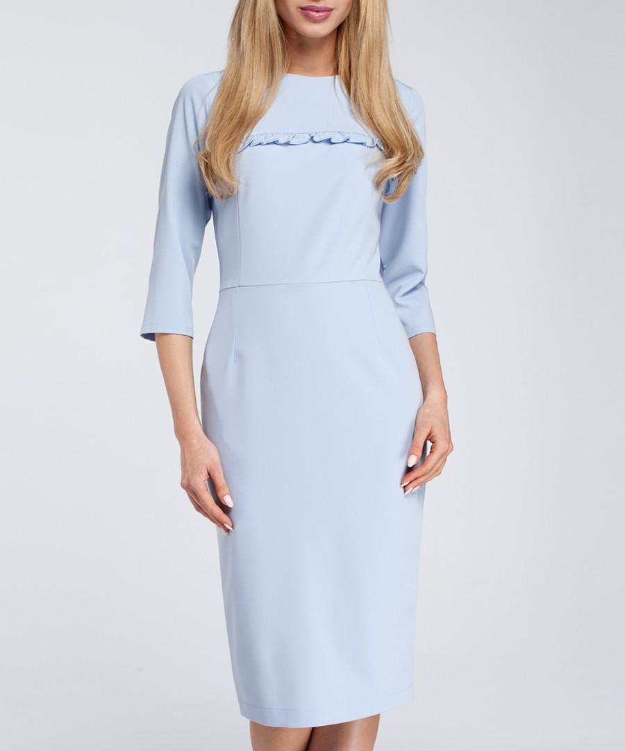 Pale blue frill trim midi dress Sale - made of emotion