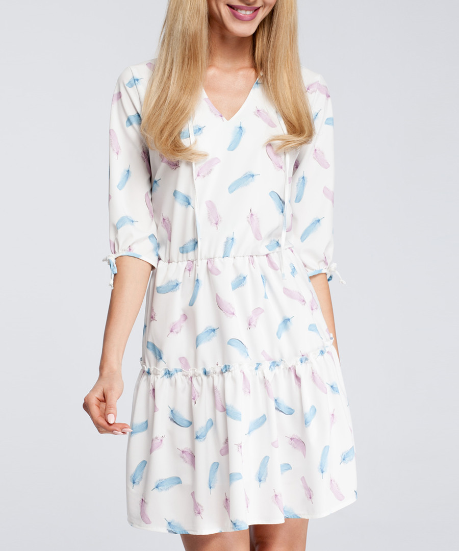 Pastel feather print tiered mini dress Sale - made of emotion
