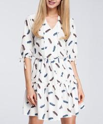 Dark feather print tiered mini dress