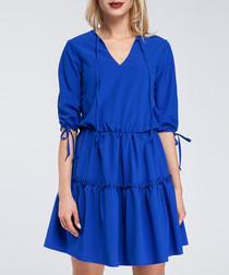 Royal blue frill trim tiered mini dress