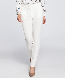 Ecru straight leg trousers