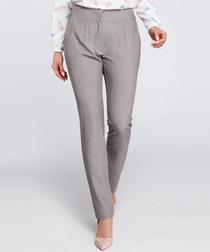 Grey straight leg trousers
