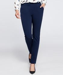 Navy straight leg trousers