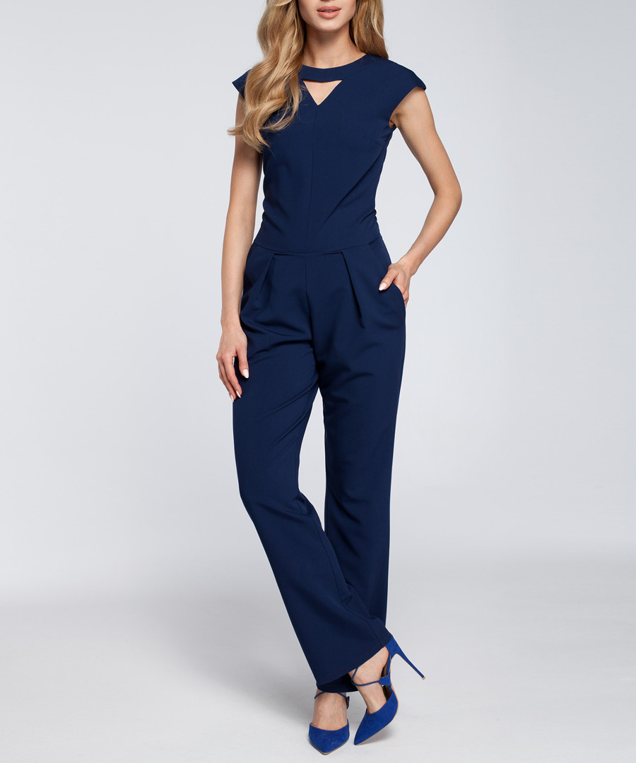 Navy cut-out cap sleeve jumpsuit Sale - made of emotion