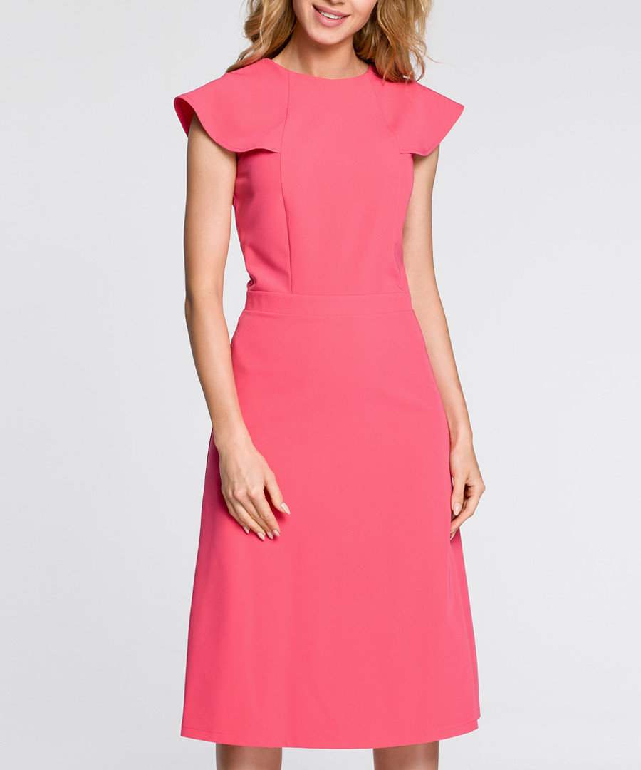 Pink winged cap sleeve midi dress Sale - made of emotion
