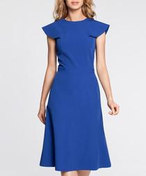 Royal blue winged cap sleeve midi dress