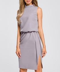 Grey side-split sleeveless mini dress
