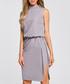 Grey side-split sleeveless mini dress Sale - made of emotion Sale