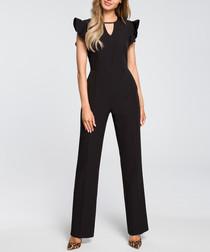 Black ruffle cap sleeve jumpsuit