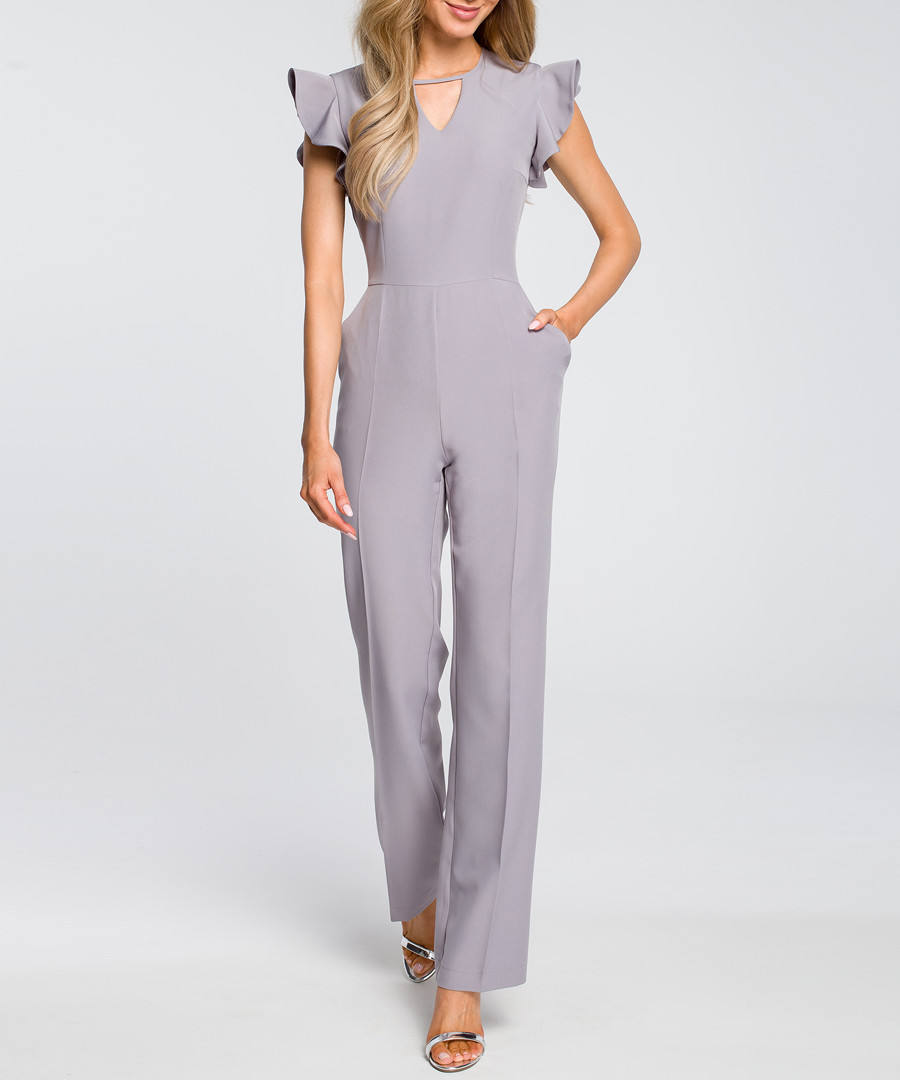 Grey ruffle cap sleeve jumpsuit Sale - made of emotion