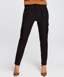 Black straight multi-pocket trousers