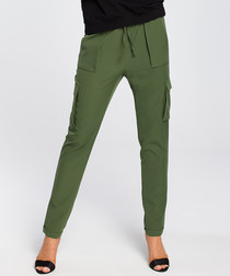 Khaki straight multi-pocket trousers