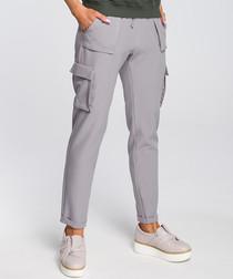 Grey straight multi-pocket trousers