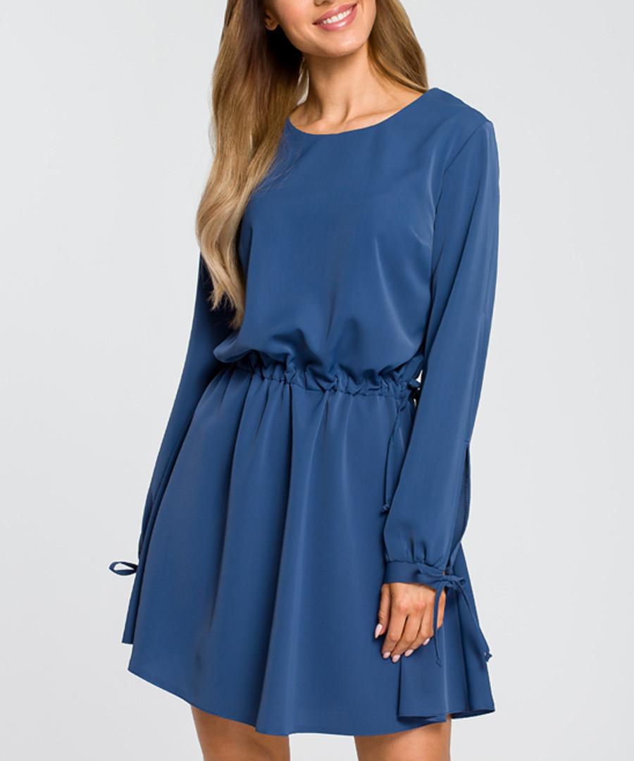 Blue long sleeve skater dress Sale - made of emotion