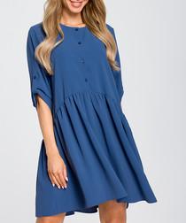 Blue button-up shift dress