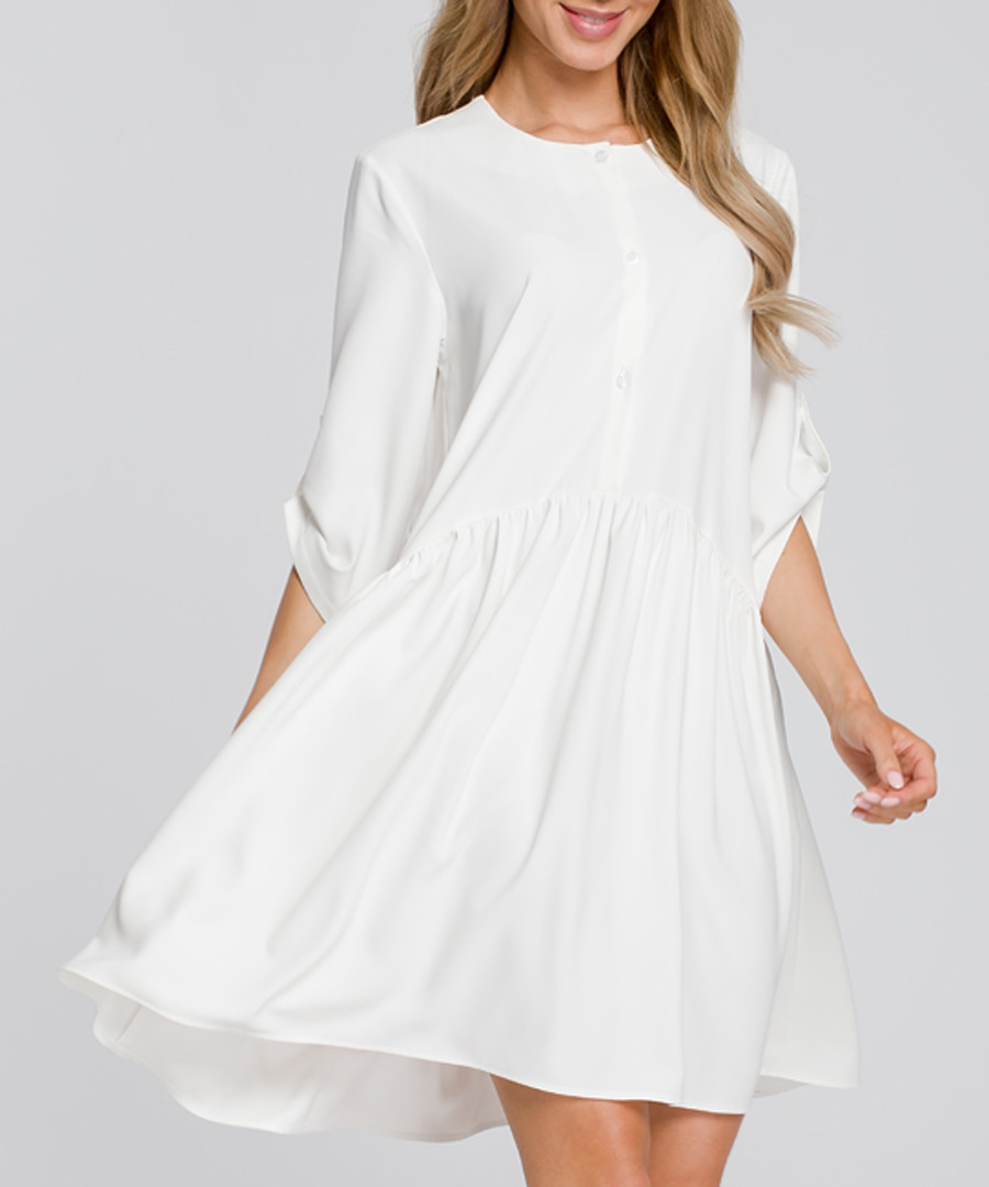 Ecru button-up shift dress Sale - made of emotion