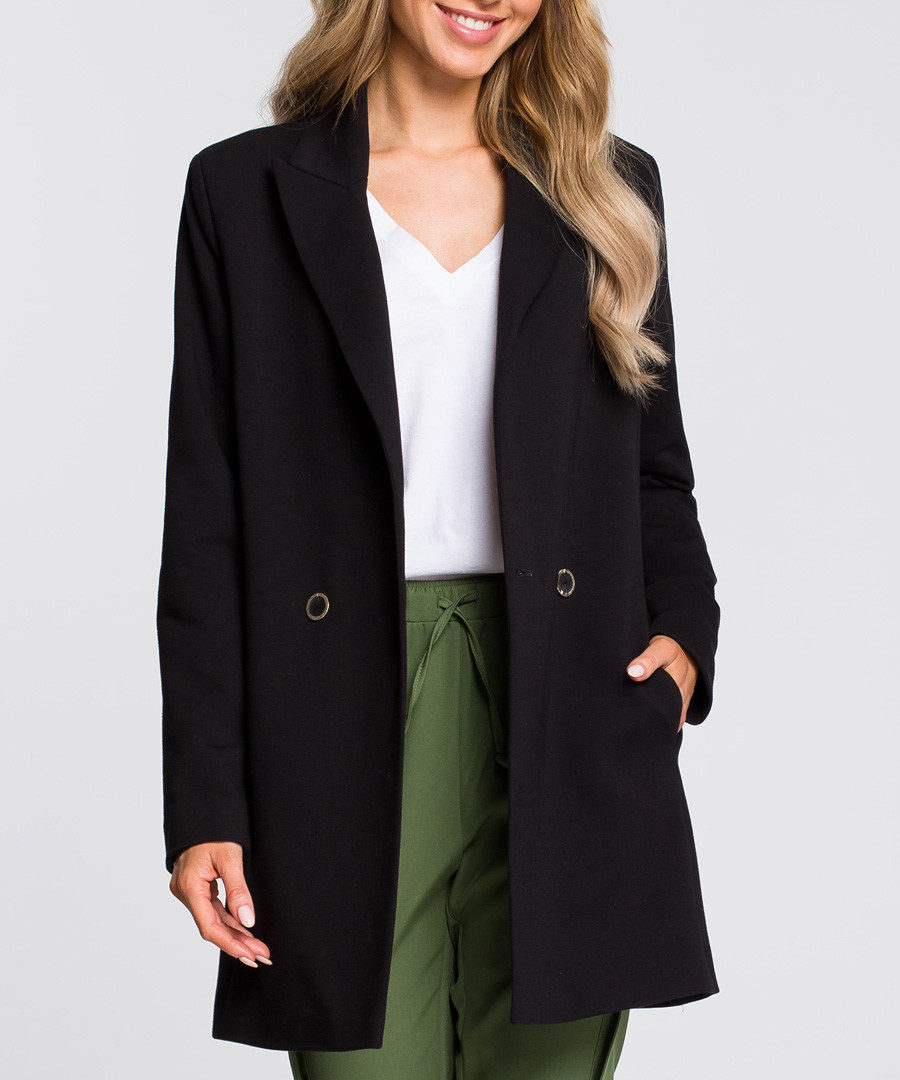 Black two-button longline jacket Sale - made of emotion