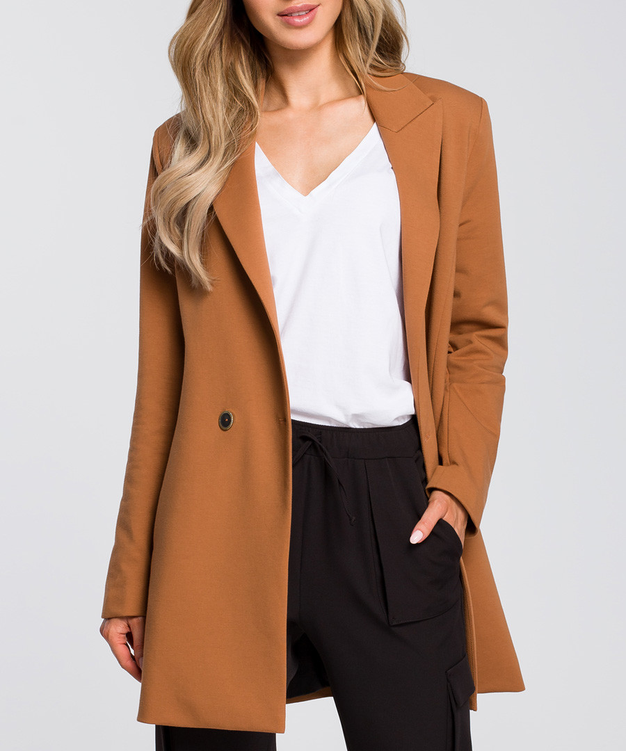 Caramel two-button longline jacket Sale - made of emotion